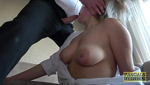 Dominant male shows busty babe harsh BDSM porn