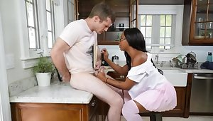 Malignant babe blows white lad and gets some hard pecker