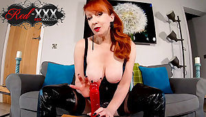 Horny mature Red XXX has a new toy to play with