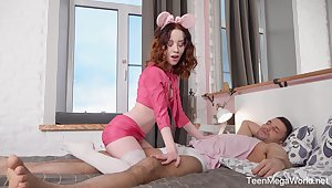 Enticing together with flexible Russian teen Lottie Magne loves when the brush slit is fucked hard