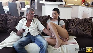 Whorish coed Erica seduces granddad be expeditious for their way best girlfriend