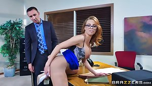 Parsimonious womanlike bends ass for the boss to rumble her right
